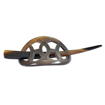Mary Crafts Buffalo Horn Hair Barrette Hair Clip Stick Pin Handmade Small Size Gray 1.7x2.8