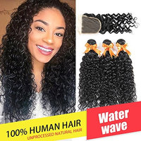Brazilian Water Wave 3 Bundles with Closure Unprocessed Virgin Human Hair Bundles with Lace Closure 4x4 Free Part Can Be Dyed