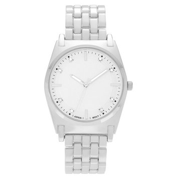 Geneva Platinum Women's Round Brushed Case Rhinestone Dial Link Bracelet Fashion Watch