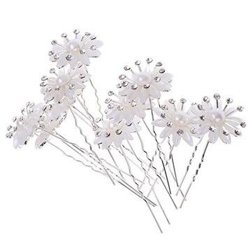 MagiDeal 10 Pieces Wholesale Luxury Glitter Rhinestone Daisy Flower U Shaped Hair Pins Bridesmaids Fancy Jewelry