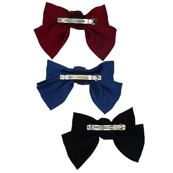 3-Pack Fashion Double-Deck Chiffon Large Solid Color Bowknot Hair Clip Women Girls Headband Hair Bow Accessories