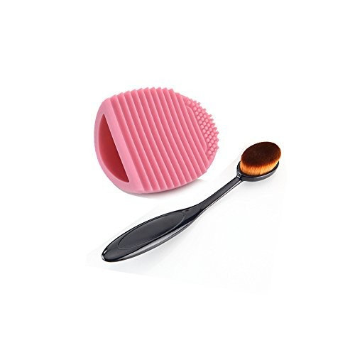 CoKate Oval ToothBrush Curved Makeup Foundation Powder Brushes with Brushegg Cleaning Clean Tools