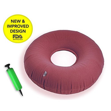 Premium Inflatable Donut cushion comfortable for Hemorrhoid ,Back and Tailbone Pain relief. Medical Donut Cushion ideal for Coccyx pain, Bedsores, Child Birth, and Pregnancy_Red