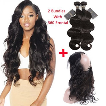 360 Lace Frontal with Bundles Body Wave Remy Virgin Hair 8A Brazilian Human Hair Bundles Weaves 100% Unprocessed Hair Extensions Natural Black Color (16