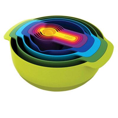 Joseph Joseph Nest Plus 9 Piece Nesting Mixing Bowls and Measuring Set, Multi-Colored