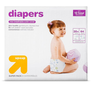 First Quality Baby Products Diapers Super Pack Size 6 64 ct - up & up, White