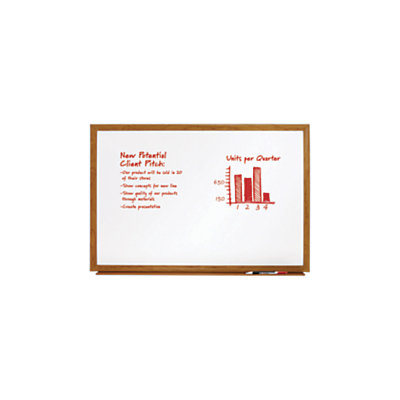 FORAY(TM) Dry-Erase Board With Oak Frame, 48in. x 36in, White Board, Oak Frame