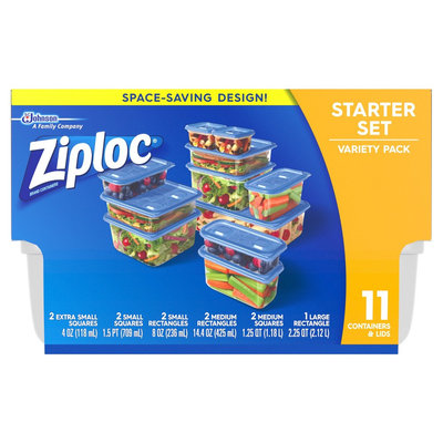 Ziploc Starter Variety Pack Containers 11ct, Blue