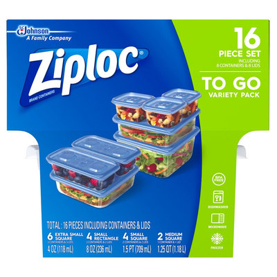 Ziploc To Go Variety Pack Containers 8ct, Blue