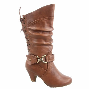Page-65K Round Toe Low Heel Zipper Back Lace Dress Boots