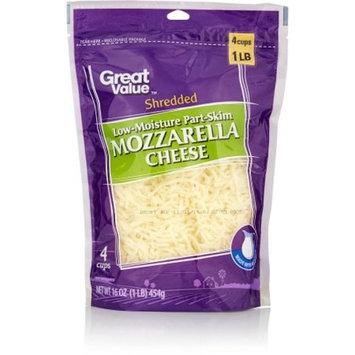 Great Value Shredded Mozzarella Cheese, Low-Moisture Part-Skim, 16 oz