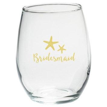 4ct Kate Aspen Bridesmaids Beach Tides 15 Oz. Stemless Wine Glass
