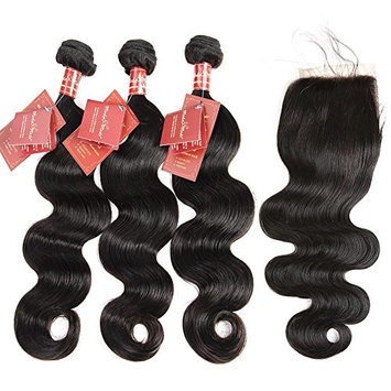 Moda Mode Hair Virgin Human Hair Extensions Brazilian Body Wave 3 Bundles with Lace Closure Free Part (20 22 24+16inch Closure) Tangle Free Natural Color Weft