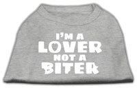 Mirage Pet Products 5142 LGGY Im a Lover not a Biter Screen Printed Dog Shirt Grey Lg 14