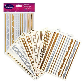 Metallic Temporary Tattoos- Six Sheets of Gold and Silver Long Lasting Flash Fashion Designs
