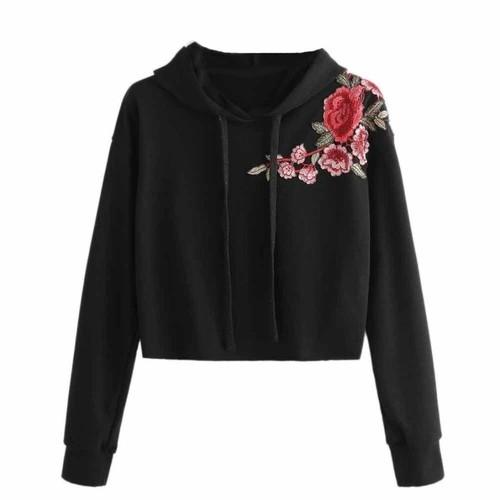 Women Hoodie Sweatshirt Jumper Sweater Long Sleeve Crop Top Embroidery Pullover Tops