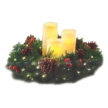 Brite Star Decorated Wreath with Candles, Multi-Colored
