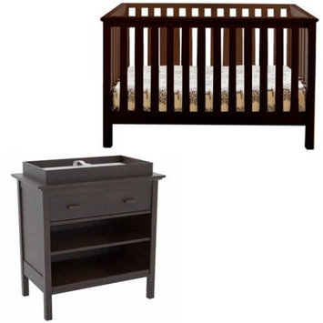 Lolly & Me Lolly and Me Mod 4-in-1 Fixed-Side Convertible Crib, Espresso