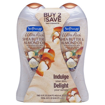 Softsoap Body Butter Shea & Almond Oil Moisturizing Body Wash - 2 Count (15 oz each)