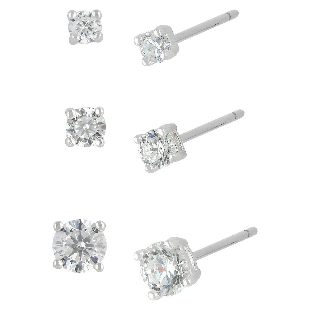 Women's Sterling Silver Stud Earrings Set with 3 Pairs of Round Cubic Zirconia -Silver, Silver/White Crystal