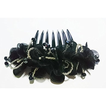 French twist hair comb Ornamented along the top of the heading with Flowers Black made fabric