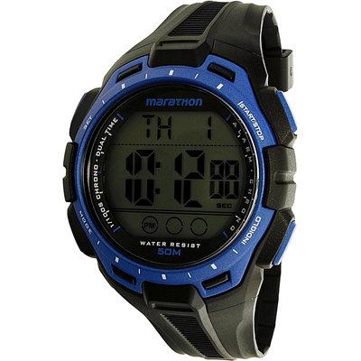 Timex Men Marathon 24-Hour Stopwatch Two-Time Zones Blue Bezel Sports TW5K94700