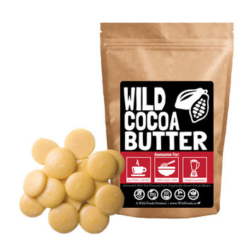 Raw Organic Cocoa Butter Wafers by Wild Foods - Unrefined, Non-Deodorized, Food Grade - 8oz