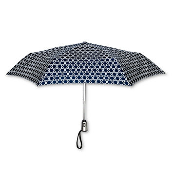 ShedRain Polka Dot Print Auto Open Auto Close Compact Umbrella - Navy