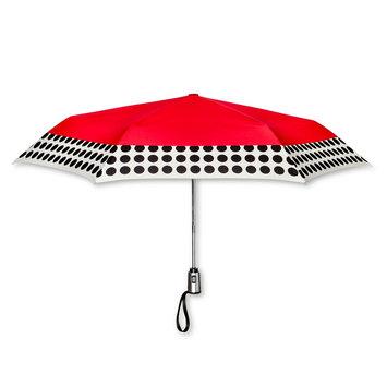 ShedRain Polka Dot Trim Auto Open Auto Close Compact Umbrella - Red