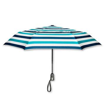 ShedRain Stripe Print Air Vent Auto Open Auto Close Compact Umbrella - Blue