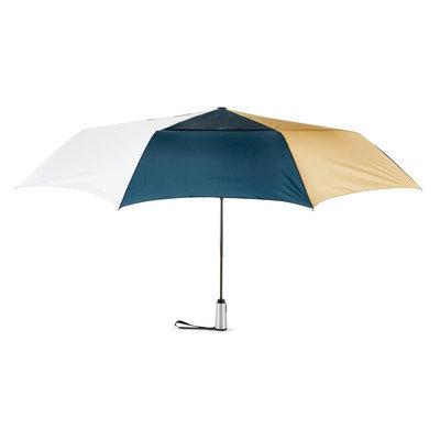 ShedRain Tri-Color Jumbo Air Vent Auto Open Auto Close Compact Umbrella - Navy, White & Tan, Multi Color