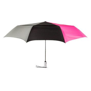 ShedRain Tri-Color Jumbo Air Vent Auto Open Auto Close Compact Umbrella - Pink, Gray & Black, Multi Color