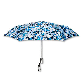 ShedRain Floral Print Auto Open Auto Close Compact Umbrella - Blue