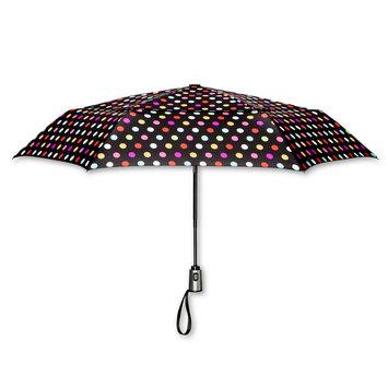 ShedRain Polka Dot Print Air Vent Auto Open Auto Close Compact Umbrella - Black, Multi Color