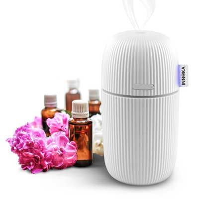 INNOKA Ultrasonic Aroma Fragrance Essential Oil Diffuser, 110ml Portable USB Cool Mist Humidifier, White