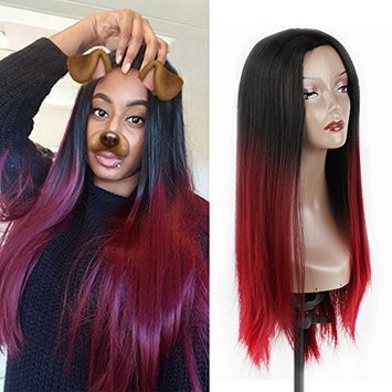 Xtrend Hair Ombre Wine Red Wigs Synthetic Straight Hair Extensions Long Wigs Cosplay Daily Party Women's Wigs 26 inch (Black+Bug#)
