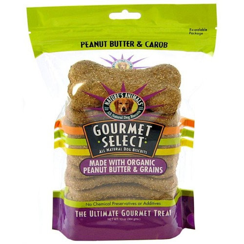 Natures Animals Gourmet Select All Natural Dog Biscuits Peanut Butter Carob - 10 Pack - 13 oz