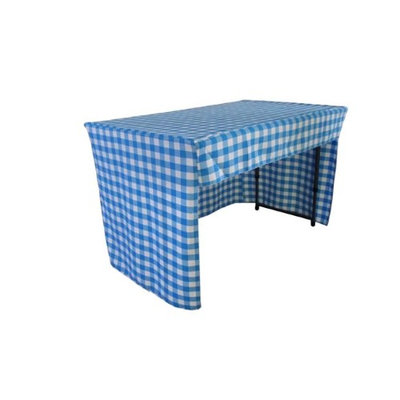 LA Linen TCcheck-OB-fit-48x30x30-TurquoiseK40 Open Back Fitted Checkered Classroom Tablecloth White & Turquoise - 48 x 30 x 30 in.
