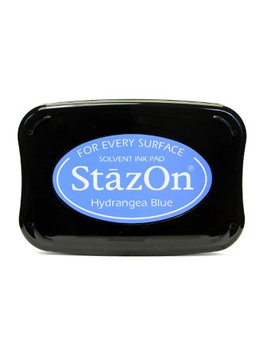 Tsukineko StazOn Solvent Ink hydrangea blue, 3.75 in. x 2.625 in, full-size pad [pack of 2]