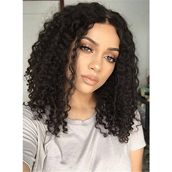 Center Part Kinky Curly Medium Synthetic Hair Bob For Round Face African American Wigs