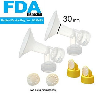 30 mm 2xOne-Piece Extra Large Breastshields w/Valves and Membranes for Medela Breast Pumps; Replacement to Medela PersonalFit 30 Breastshield and Personal Fit Connector; Made by Maymom