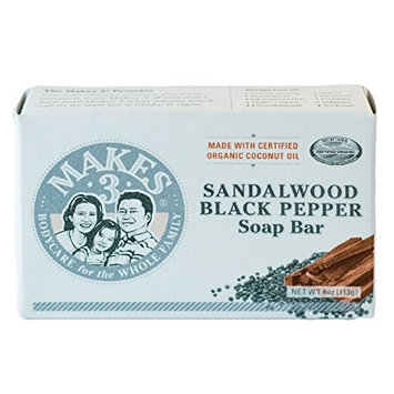Makes 3 Organics Soap Bar, Sandalwood Black Pepper, 4 Ounce [Sandalwood Black Pepper]