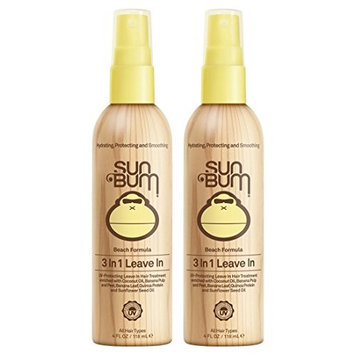 Sun Bum 3 In 1 Leave In Hair Conditioning Treatment, 2 Pack (4 Oz)