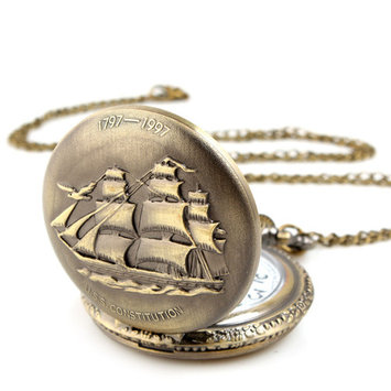 Pocket Watch Steampunk Vintage Watch with Cool Chain Pendant Analog for Men Women Bronze- Sailboat