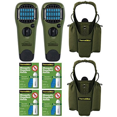 Thermacell Repeller and Holster (2-Pack) Olive & 4 Refills Kit
