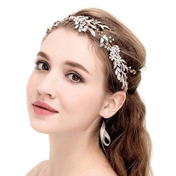 BABEYOND Crystal Wedding Headpiece Hair Vine Bridal Headband Bridesmaid Hairband Crystal Floral Leaf Forehead Band with Lace Ribbon