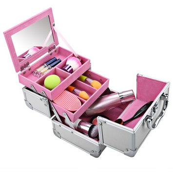 Kemanner Makeup Train Case Jewelry Box Aluminum Cosmetic Organizer With Mirror + 2 Keys(Pink)(US Stock)