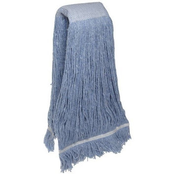 Zephyr 24415 Blendup Blue Blended Natural and Synthetic Fibers 32oz Cut End Wet Mop Head with Wide Band Fantail (Pack of 12)