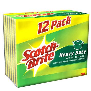 Scotch-Brite Heavy Duty Scrub Sponge, Yellow/Green, 12-Pack