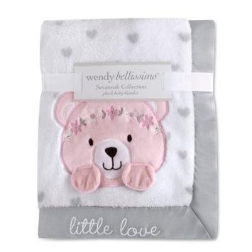 Wendy Bellissimo tm Wendy Bellissimo(TM) Savannah Pink and Grey Plush Bear Baby Blanket